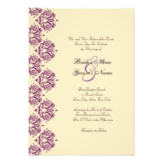 Purple and Cream Side Damask Wedding Invitation