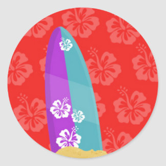 Purple and Cyan Surf Board With Hibiscus Backgroun Classic Round Sticker