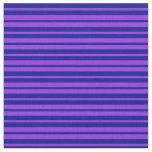 [ Thumbnail: Purple and Dark Blue Pattern of Stripes Fabric ]