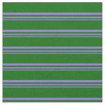 [ Thumbnail: Purple and Dark Green Striped Pattern Fabric ]