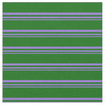[ Thumbnail: Purple and Dark Green Stripes Pattern Fabric ]