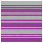[ Thumbnail: Purple and Dark Grey Colored Pattern Fabric ]