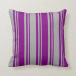 [ Thumbnail: Purple and Dark Grey Colored Pattern Throw Pillow ]