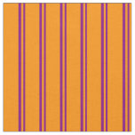 [ Thumbnail: Purple and Dark Orange Colored Stripes Fabric ]