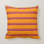 [ Thumbnail: Purple and Dark Orange Colored Stripes Pillow ]