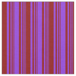 [ Thumbnail: Purple and Dark Red Lines Fabric ]