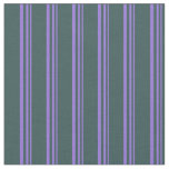 [ Thumbnail: Purple and Dark Slate Gray Colored Lines Fabric ]
