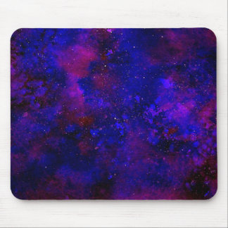 Purple and Deep Blue Universe Inky Watercolor Mouse Pad