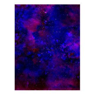 Purple and Deep Blue Universe Inky Watercolor Postcard