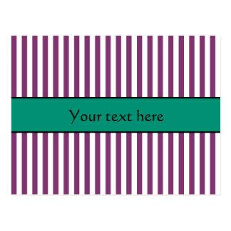 Purple and Emerald Green Stripes Pattern Postcard