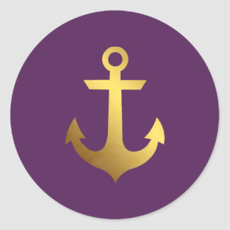 Purple and Faux Gold Foil Anchor Classic Round Sticker
