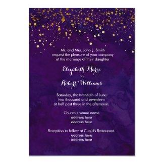 Purple and Faux Gold Glitter 5x7 Paper Invitation Card