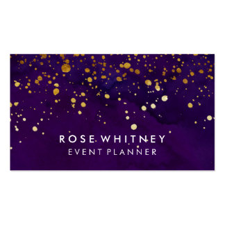 Purple and Faux Gold Glitter Business Card