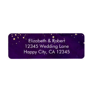 Purple and Faux Gold Glitter Label