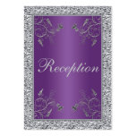 Purple and FAUX Silver Foil Floral Enclosure Card Business Card Template