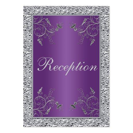 Purple and faux silver foil floral enclosure card business