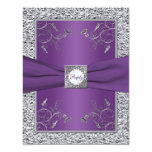 Purple and FAUX Silver Foil Floral RSVP Card