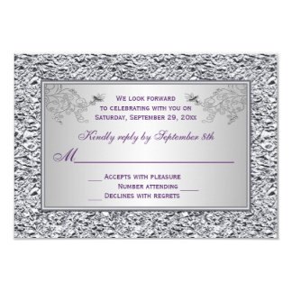 Purple and FAUX Silver Foil Floral RSVP Card II