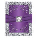 Purple and FAUX Silver Foil Floral RSVP Card Invite