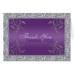 Purple and FAUX Silver Foil Floral Thank You Card Greeting Card