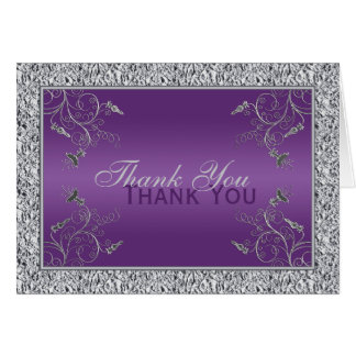 Purple and FAUX Silver Foil Floral Thank You Card