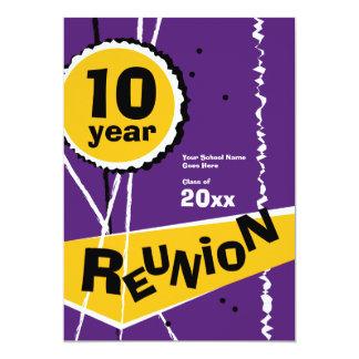 Purple and Gold 10 Year Class Reunion Invitation