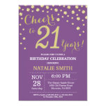 Purple and Gold 21st Birthday Diamond Invitation