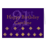 Purple and Gold 21st Birthday Greeting Card