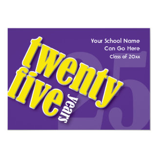 Purple and Gold 25 Year Class Reunion Invitation