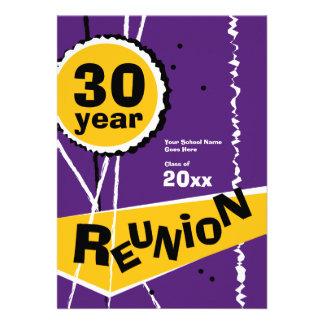 Purple and Gold 30 Year Class Reunion Invitation