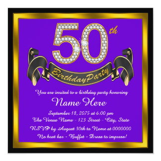 Purple and Gold 50th Birthday Party Invitation