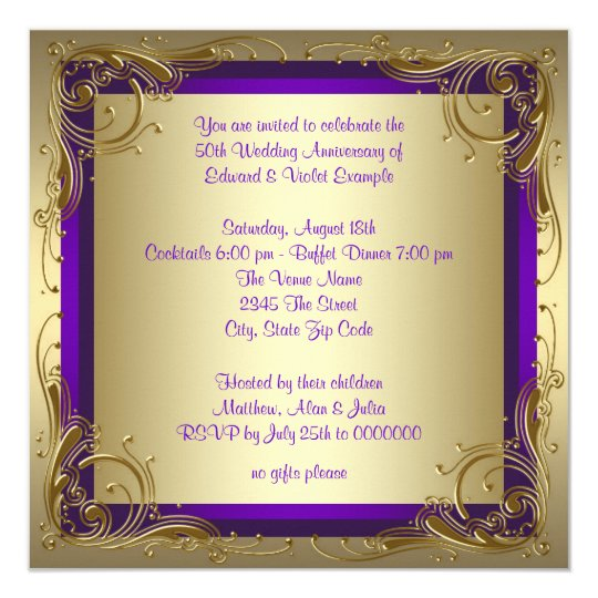 Purple And Gold 50th Wedding Anniversary Party Card