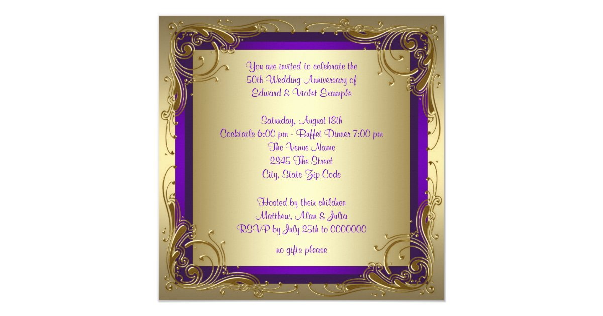 Purple and Gold 50th Wedding Anniversary Party Card | Zazzle.com