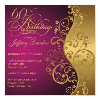 Purple and Gold 60th Birthday Party Invitation