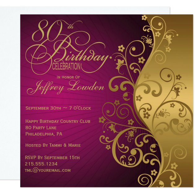 gold birthday party invitations  announcements  zazzle, Birthday invitations