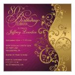 """Purple and Gold 80th Birthday Party Invitation 5.25"""" Square Invitation Card"""