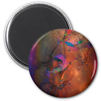 Purple and gold Abstract Magnet