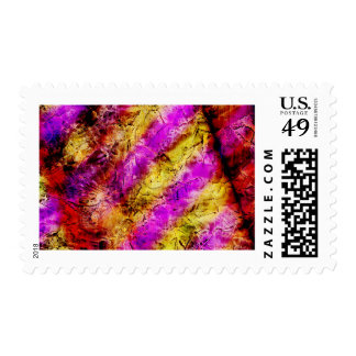 Purple and Gold Abstract Paint Postage
