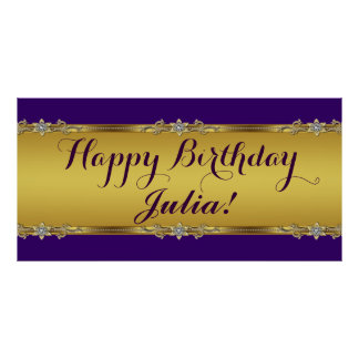 Purple and Gold Birthday Party Poster