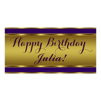 Purple and Gold Birthday Party Posters