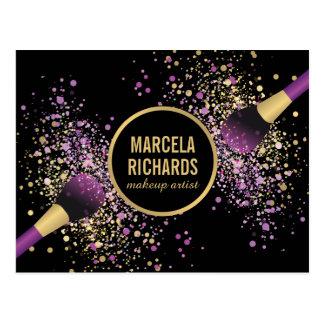 Purple and Gold Blush Confetti Makeup Artist Postcard