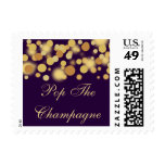 Purple and Gold Bokeh Celebration Postage Stamps