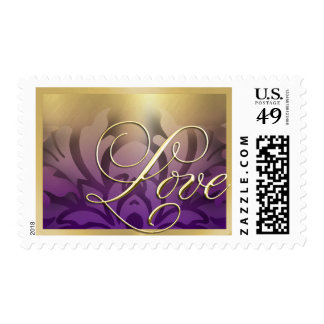 Purple and Gold Border Love Postage