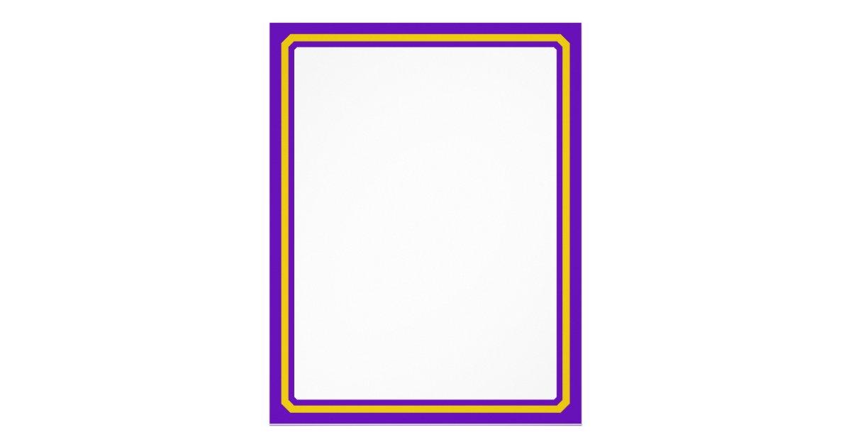Purple And Gold Border Trim Letterhead | Zazzle