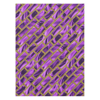 Purple and Gold Brick Pattern Tablecloth
