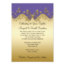 Purple and Gold Butterflies 50th Anniversary Party Invitations