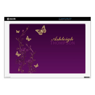 Purple and Gold Butterfly Floral Laptop Skin