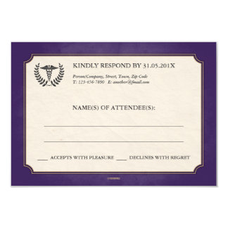 Purple and Gold Caduceus MD/RN RSVP 3.5x5 Paper Invitation Card