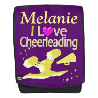PURPLE AND GOLD CHEERLEADING PERSONALIZED BACKPACK