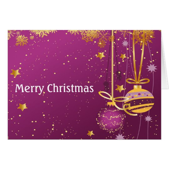 Purple and Gold Christmas Ornaments Card